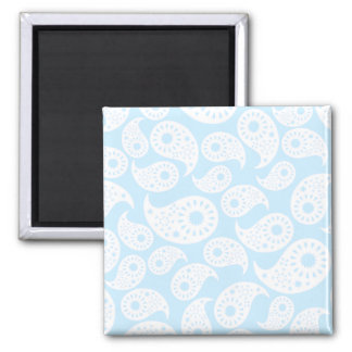White and Pastel Blue Paisley Magnets