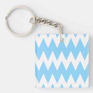 White and Pastel Blue Zigzags. Single-Sided Square Acrylic Keychain