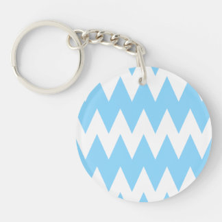 White and Pastel Blue Zigzags. Double-Sided Round Acrylic Keychain