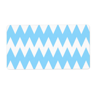 White and Pastel Blue Zigzags. Label