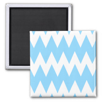 White and Pastel Blue Zigzags. 2 Inch Square Magnet