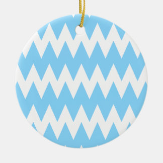 White and Pastel Blue Zigzags Christmas Ornaments