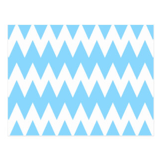 White and Pastel Blue Zigzags. Postcard