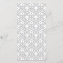 White and Pastel Gray Damask Design.