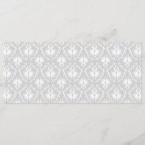 White and Pastel Gray Damask Design.