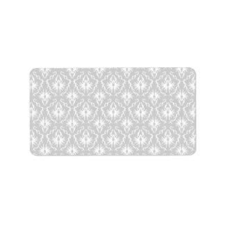 White and Pastel Gray Damask Design. Address Label