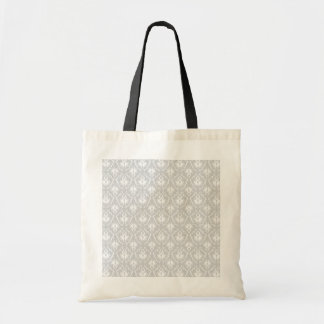 White and Pastel Gray Damask Design. Budget Tote Bag