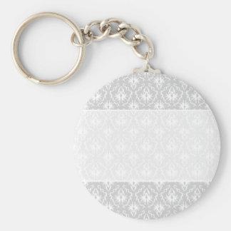 White and Pastel Gray Damask Design. Basic Round Button Keychain