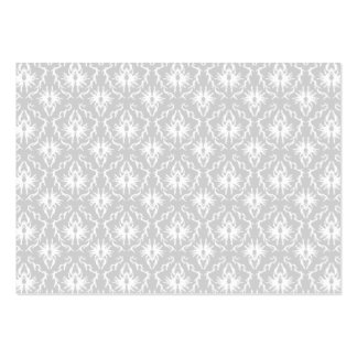White and Pastel Gray Damask Design. Large Business Cards (Pack Of 100)