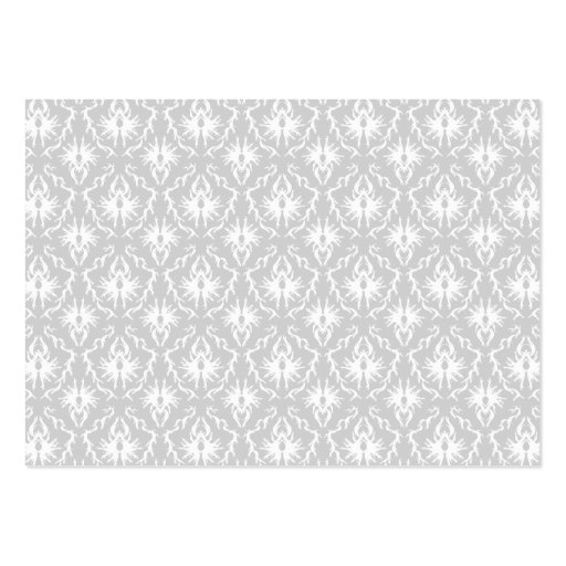 White and Pastel Gray Damask Design. Business Card