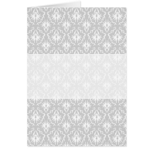White and Pastel Gray Damask Design. Card