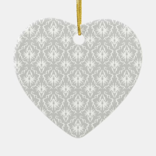 White and Pastel Gray Damask Design. Double-Sided Heart Ceramic Christmas Ornament