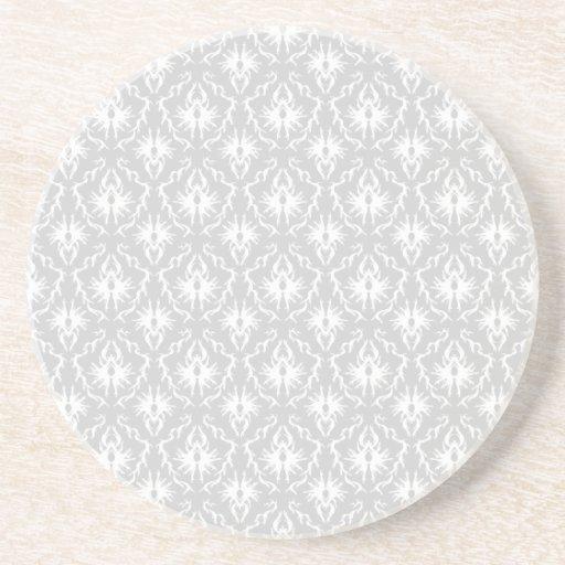 White and Pastel Gray Damask Design. Drink Coaster