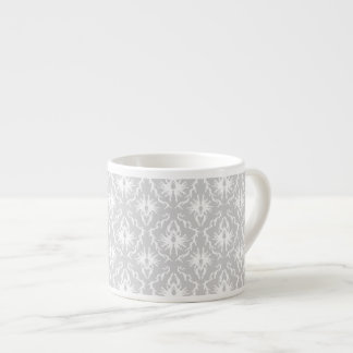 White and Pastel Gray Damask Design. Espresso Cup