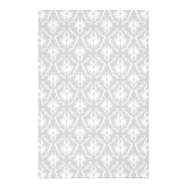 White and Pastel Gray Damask Design. Flyer