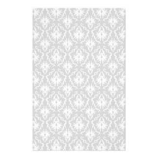 White and Pastel Gray Damask Design. Full Color Flyer