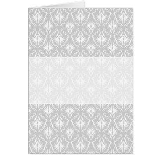 White and Pastel Gray Damask Design. Greeting Card