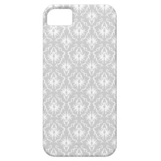 White and Pastel Gray Damask Design. iPhone 5 Case
