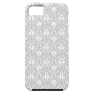 White and Pastel Gray Damask Design. iPhone 5 Cases