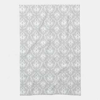 White and Pastel Gray Damask Design. Kitchen Towel