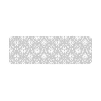 White and Pastel Gray Damask Design. Return Address Label