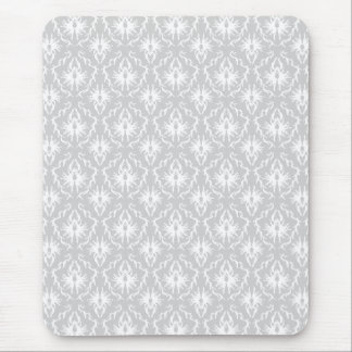 White and Pastel Gray Damask Design. Mouse Pad