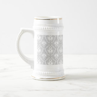 White and Pastel Gray Damask Design. Coffee Mug