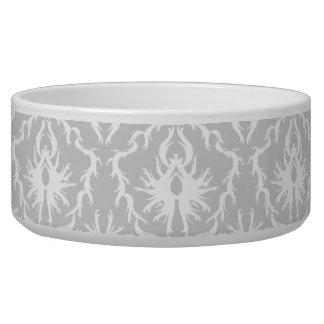 White and Pastel Gray Damask Design. Dog Water Bowls