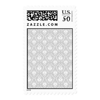White and Pastel Gray Damask Design. Postage