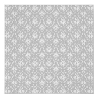 White and Pastel Gray Damask Design. Poster