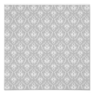 White and Pastel Gray Damask Design. Print