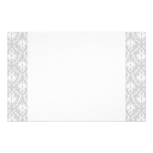 White and Pastel Gray Damask Design. Custom Stationery