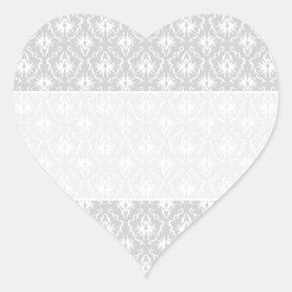 White and Pastel Gray Damask Design. Heart Sticker