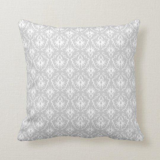 White and Pastel Gray Damask Design. Throw Pillow