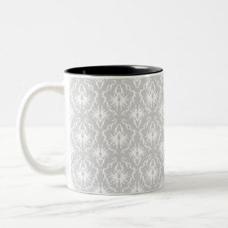 White and Pastel Gray Damask Design. Two-Tone Coffee Mug