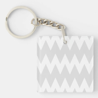 White and Pastel Gray Zigzags. Keychain