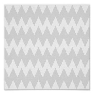White and Pastel Gray Zigzags. Poster