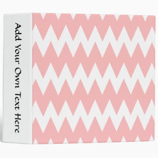 White and Pastel Pink Zigzags. 3 Ring Binder