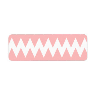 White and Pastel Pink Zigzags. Label
