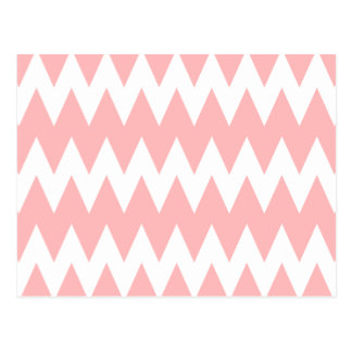 White and Pastel Pink Zigzags. Postcard