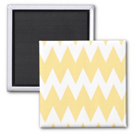 White and Pastel Yellow Zigzags. Fridge Magnet