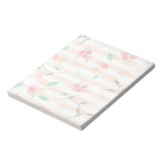 White and Peach Floral Stripes Notepad