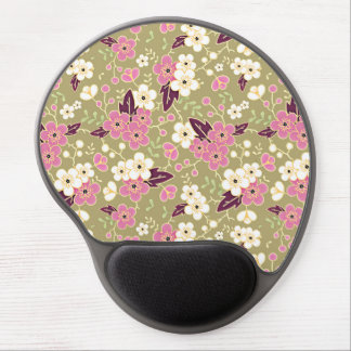 White and Pink Apple Blossoms on Beige Gel Mouse Mats
