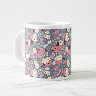 White and Pink Apple Blossoms on Slate Blue Large Coffee Mug
