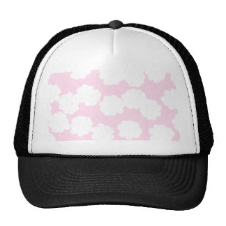 White and Pink Clouds Pattern. Hats