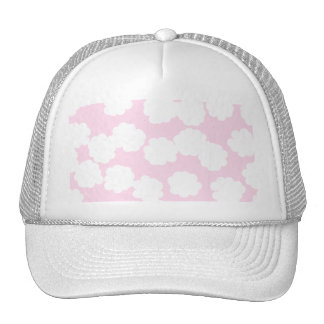 White and Pink Clouds Pattern. Trucker Hat