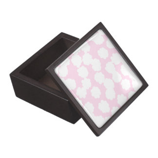 White and Pink Clouds Pattern. Premium Gift Box