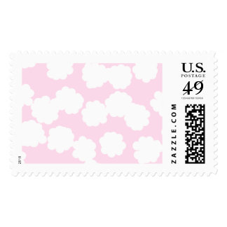 White and Pink Clouds Pattern. Stamp