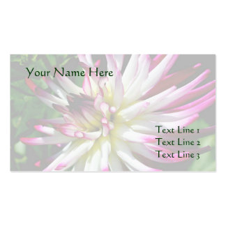 White And Pink Dahlia Flower Business Card Templates