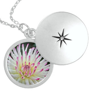 White and Pink Dahlia Silver Locket